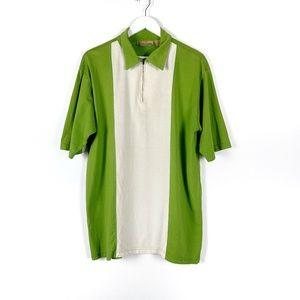 Bobby Chan Men's Silk Short Sleeve 1/4 Zip Polo